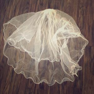 Accessories - Two tier blusher bridal veil with rolled edges